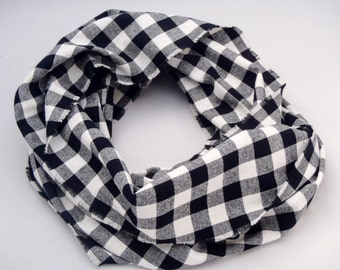 Infinity Scarf, black and white plaid flannel, gift for her, accessory