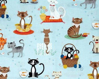 Crafty Cats Light Blue Quilting Fabric - Fat Quarter or Yardage