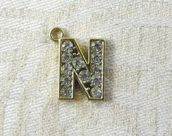 "Gold Rhinestone Letter ""N"" Charm, 1 or 5 letters per package ALF022n-GL"