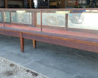 10' Lighted Glass Showcase Store Counter Jewelry Display Case Vintage Cabinet a