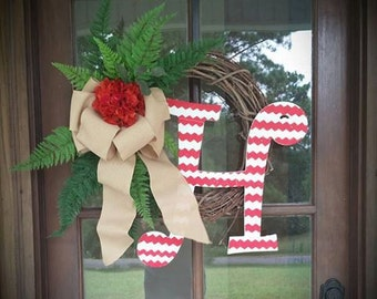 Hydrangea Initial Grapevine Wreath Year Round Wreath