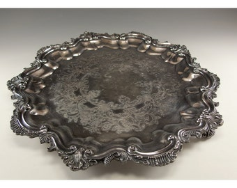 Vintage Three Footed Silver Plated Serving Plate by Continental Silver