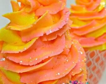 Bath Bomb- Bubble Bath- Bubble Bar- Bath Bomb Cupcake- Kids Bath- Bath Cupcake- Sunset Sparkle