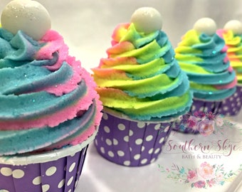 Bath Bomb- Bubble Bath- Bubble Bar- Bath Bomb Cupcake- Kids Bath- Mini Bath Cupcake- Rainbow Swirl