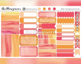 Coral Tangerine Kit - 33 Stickers with 52 Matching Glitter Headers