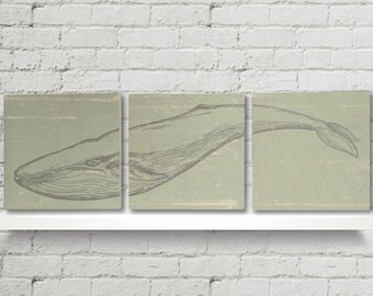 Humpback Art | Humpback Watercolor | Humpback Whale | Humpback Whale Poster | Whale Nursery | Whale Wood Art | 3 Piece Wall Art