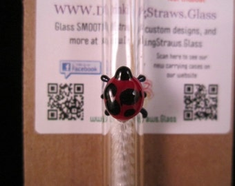 Custom Lady Bug Accent Glass Straw Eco Friendly and Reusable