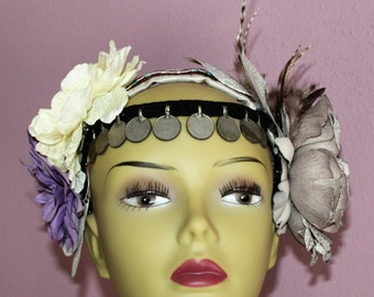 Tribal Header, Tribal Fusion Headpiece, Flower Hair Piece, Burlesque Hairpiece with Real Feathers, Alice Hairband, OOAK