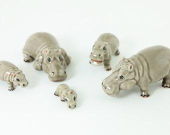 Set Of Five Miniature Animal Figurine - Little Hippos -Tiny Hippos - Mini Animals