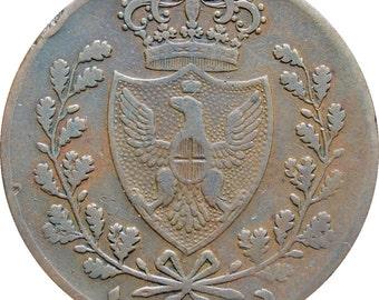 1826 L Italian states Sardinia 5 Centesimi Charles Felix Coin