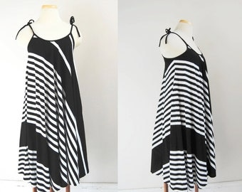 70s Trapeze Sundress, Bold Black And White Stripe Spaghetti Strap Dress, Vintage French Terry Asymmetrical Dress, Size Small