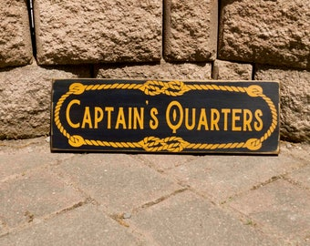 Captain's Quarters, Nautical Sign, Beach Sign Decor, Man Cave Sign, Hand Painted, Wood Sign