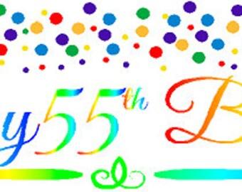 Happy 55th Birthday Rainbow Wall Decoration Party Banner