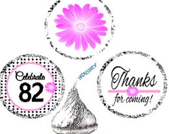 82nd Birthday / Anniversary Pink Black Polka Dot Party Favor Hershey Kisses Candy Stickers / Labels -216ct