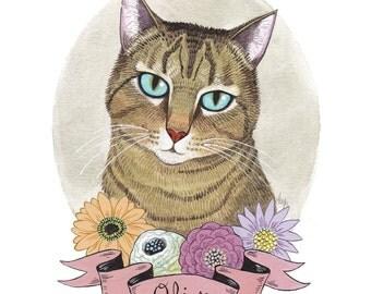 Custom Cat Portrait. Cat Art. Custom Pet Portrait. Custom Pet Painting. Pet Watercolor. Personalized Pet Art. 9x12 in