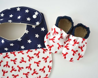 Maine Baby Shower Gift - Lobster Baby Shower Gift - Nautical Baby Shower Gift - Lobster Baby Booties - Lobster Baby Gift - Lobster Baby Bib