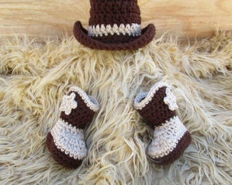 Cowboy Hat and Boots Set Newborn Cowboy Outfit Cowboy Hat Crochet Baby Cowboy Hat and Boots Baby Cowboy Outfit Photo Prop Cowboy Photo Prop