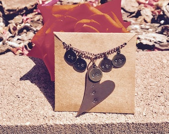 Hand-Stamped 'MOM' Heart Shaped Necklace