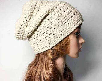 Ecru LOUISON Crocheted Hat - Hand Made Crocheted Hat - Ecru Slouchy Hat - Woman Hat - Man Hat - Ready To Ship