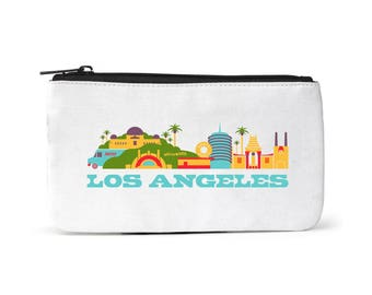 City Living Pouch - Los Angeles - California -  Zipper pouch - Cosmetic pouch - Toiletry -Travel pouch  - Birthday Gift - Hometown - Organic