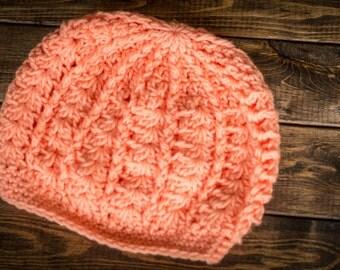 handmade crochet women's peach semi-slouch hat