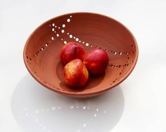 Ceramic fruit bowl in terra-cotta - medium bowl - modern ceramic fruit bowl, contemporary pottery bowl by Curve Ceramics