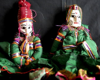 Rajasthani Puppet/Doll (pair - green)