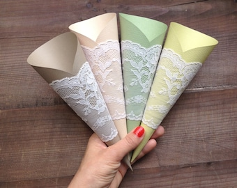 Paper Cones Wedding, Lace Wedding Decor, Rustic Weddings, Vintage Wedding, CUSTOM MADE, HANDMADE