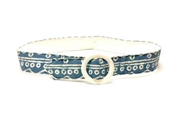 Vintage Blue Belt with White Graphic Print Details