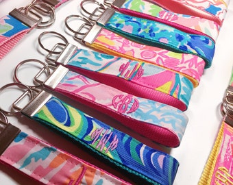 Monogrammed Circle Lilly Pulitzer Key Fob Wristlet