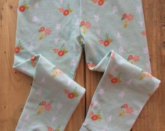 Baby leggings, baby pants, floral arrow leggings, teal arrow leggings, newborn baby girl pants baby girl leggings, newborn outfit