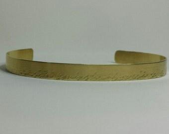 """Hand Hammered Brass Cuff Bracelet 1/4"""""""
