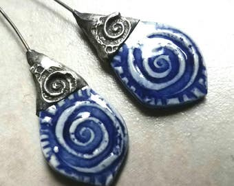 Tinwork-capped Porcelain Earring Charms Pair - #M14