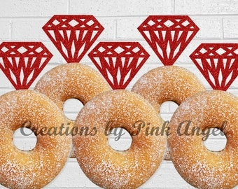 Set of 12 Glitter Red Donut Diamond Toppers, Dessert Diamond Toppers, Red Glitter Diamond Toppers, Diamond Donut Toppers