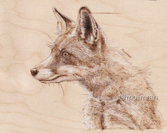 ORIGINAL Fox Portrait - Pyrography / Wood Burning drawing Art - animal wildlife