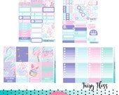 Fairy Floss Planner Sticker Kit - great for planning in your Erin Condren Life Planner - Blue, Pink, Purple. Vertical Hourly Horizontal