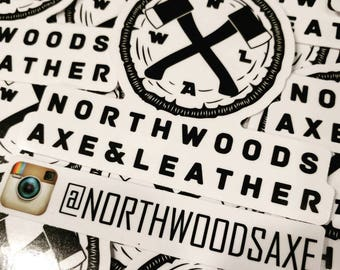Northwoods Axe & Leather Stickers - Official NWAL logo - vinyl indoor outdoor high quality all weather stickers