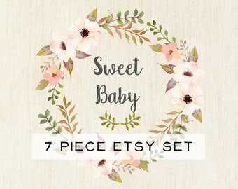 Etsy Shop Banner Set-Pink Etsy Shop Banner-Shop Set-Boutique Etsy Banner-Flower Etsy Banner-Sweet Baby