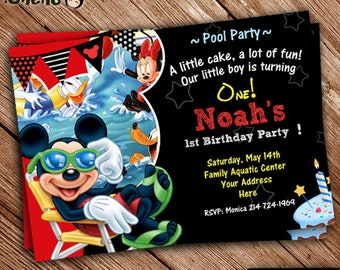 SALE 50% OFF Mickey Mouse Invitation Pool Party Version - Mickey Mouse Printable - Mickey invite - Mickey Mouse Party - Mickey Celebration