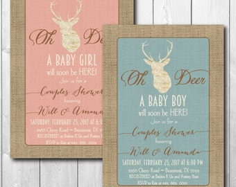 Couples Baby Shower Invitation printable/Antlers Baby Shower, Baby Girl Invitation, Baby Boy Invitation/Digital File/wording can be changed