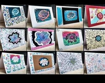12 Notecards Greeting Handmade Art Cards  #QN66.14.11.10.62.61.12.15.65.13.16.17