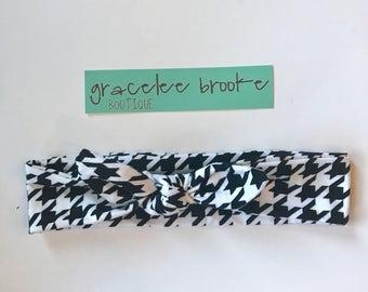 Houndstooth bow Headband - headband- bow headband for infants, toddlers, and adults  - top knot headband