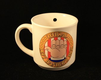 Vintage Ceramic Official Left Hander's Mug Novelty Joke Coffee Cup