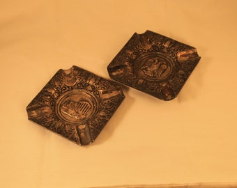 Pair of Vintage Bronze Ashtrays From Greece Cigarettes Tobacco Smoker Collectible Gift