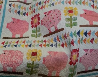 Pink Pig and Sunflower Quilt