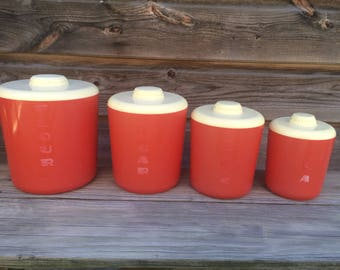 Vintage Canisters, Vintage Red Canisters, Loma Canisters, Canisters, Set of 4