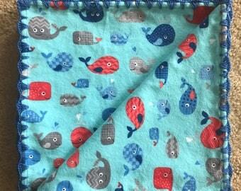 Crochet/Flannel Baby/Receiving Blanket - Happy Whales