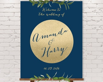 Gold Sparkle Wedding Welcome Sign / Gold Welcome / Metallic Gold Glitter / Gold  and Navy Sign ▷ Printable File {or} Printed & Shipped