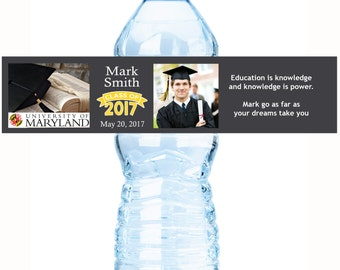 2017 Graduation Water Bottle Labels - 30 Graduate Bottled Water Labels - Custom Water Bottle Labels - 30 Photo Graduate Water Bottle Labels