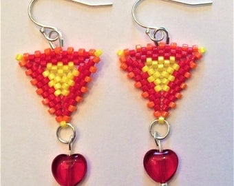 Triangle Peyote Beaded Earrings